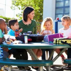 Students Eating At Lunch Table With Teacher