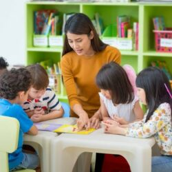 Female Teacher Pointing To Alphabet Book With Students Gathered Around