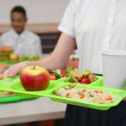Female Student Holding Lunch Tray With Apple C Vegetables C Rice C And Beverage